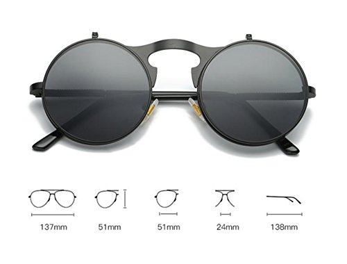 Worclub gótico protección steampunk gafas Estilo sol Plata retro redondo de estilo UV diseño gafas Plata neutral marco rC5nrBzH