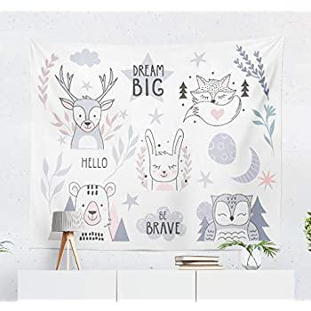 Kutita Tapestry Wall Hanging Nursery Forest Animals Collection with Lettering Baby Cute Rabbit Fox Wall Tapestry Home Decorations for Bedroom Living Room Dorm Decor in 60