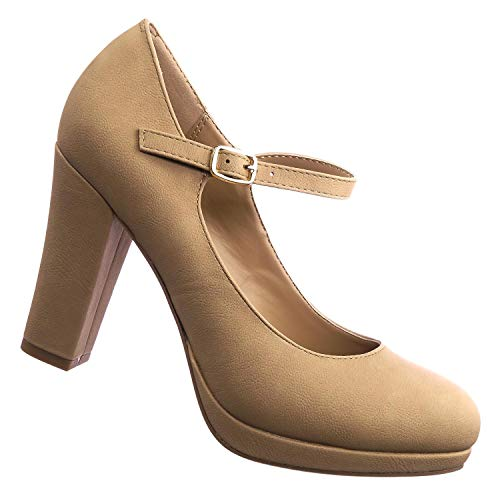 Comfy Foam Padded Vintage Chunky Block High Heel Mary Jane Pump Natural Beige