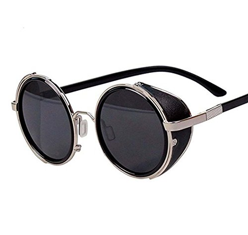 Arctic Star 80s Style Vintage Style Inspired Classic Round Sunglasses Very Popular (Silver frame)