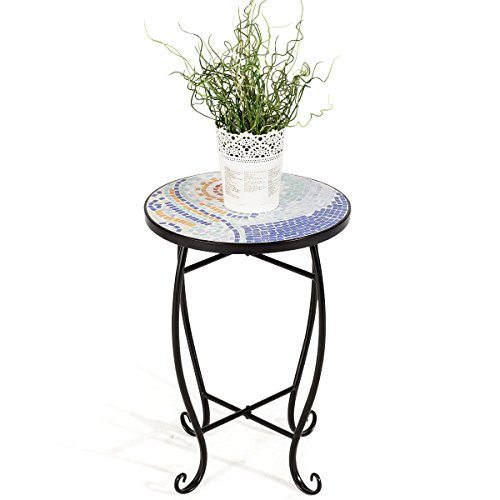 Cypressshop Round Plant Stand Metal Accent Table Indoor Outdoor Scheme Garden Steel Ocean End Table Couch Sofa Side Desk Coffee Tea Table for Living Room Bedroom Home Furniture