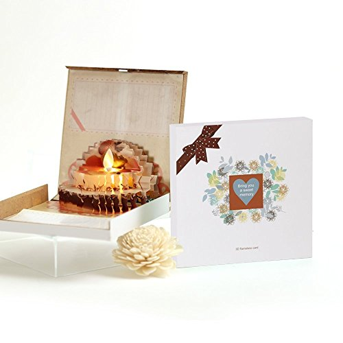 3D Pop-Up Happy Birthday Card: Creative Handmade Birthday Card To Express Your Love To Friends & Family| Flameless Candles Business Greetings/Valentine's/Anniversary/Father's Day Cake Card (White) by Antizer