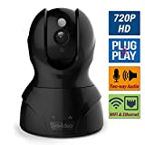 Cheap WiFi Wireless IP Camera for Home/Shop Security Surveillance, 720P HD Infrared Night Vision Pan Tilt, Support Cellphone APP & Computer, SD Card Recording, Motion Alert, Microphone 2 Way Audio – Black