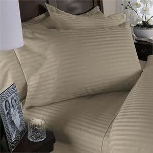 Egyptian Bedding 300 Thread Count Egyptian Cotton 300TC Duvet Set, California King, Beige Stripe 300 TC
