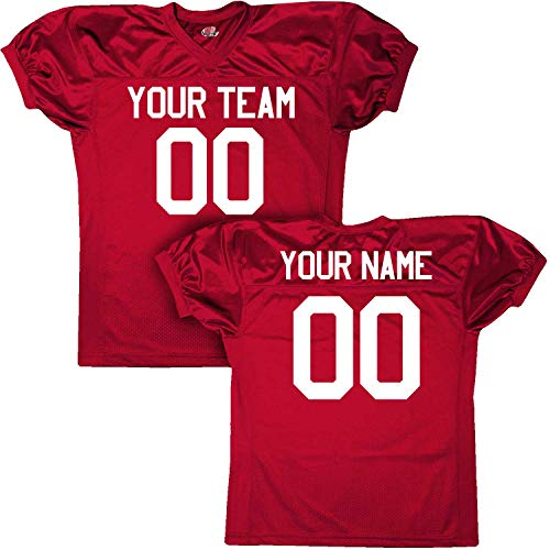 (Pro Custom Football Game Jersey Tricot Mesh Dazzle, Youth Small, Scarlet Red)