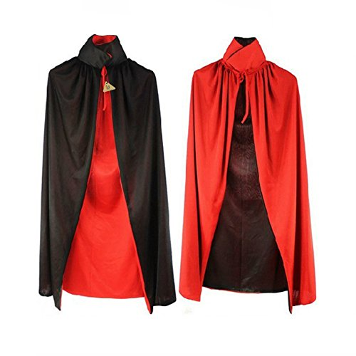 Halloween Cloak Adult 140cm Long Black Red Vampire Dracula Villian Goth Magician XL Cape