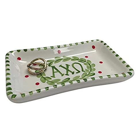 Alpha Chi Omega Sorority Trinket Tray Ring Dish Made of Ceramic Material Letters AXO