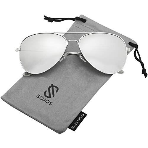 SOJOS Classic Aviator Polarized Sunglasses Mirrored UV400 Lens SJ1054 with Silver Frame/Silver Mirrored Polarized ()