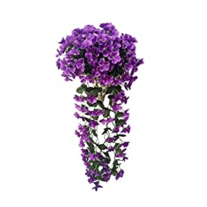 Vibola® Fake Flower 1 Bunches of Artifical Violet Bracketplant Wall Hanging Garland Vine Flower Traling (Vase not Included) 75