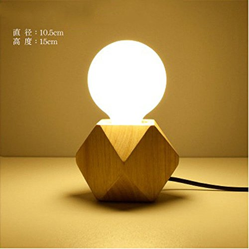 Wall Lamps,Creative Diamond Nordic Table lamp Retro Decoration Study Living Room Bedroom Warm Bedside lamp Solid Wood Small Table lamp Bracket Light by ExpensiveLight (Image #1)