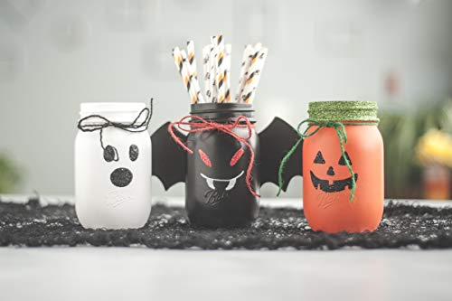 Set of 3 Halloween Decor Jars, Pumpkin, Ghost and -