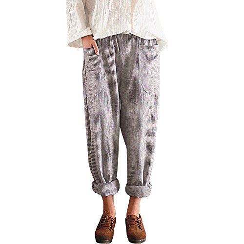 Hot sale Farjing Women High Waist Vintage Striped Loose Cotton Linen Long Trousers Harem (Khaki Apparel)