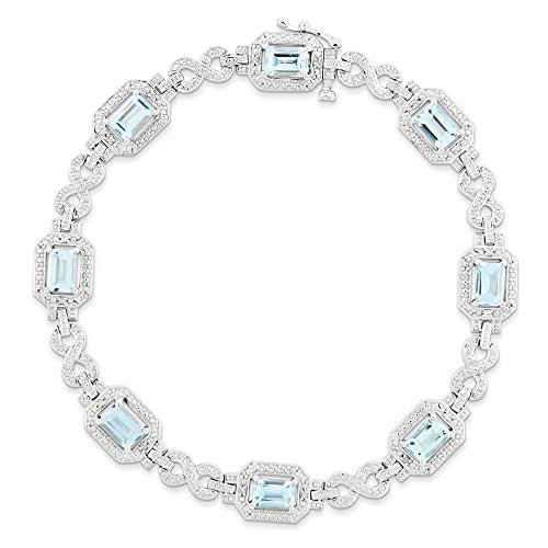 Argent sterling diamant et Topaze Bleu Suisse clair Bracelet