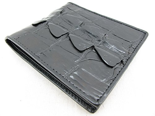 PELGIO Genuine Crocodile Alligator Tail Skin Bifold Wallet (Black)
