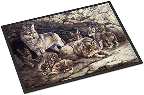 Caroline s Treasures BDBA0157JMAT Wolf Wolves by The Den Indoor or Outdoor Mat 24×36, 24H X 36W, Multicolor