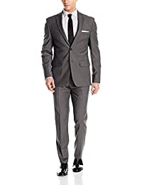 DKNY Mens Two Button Slim Fit Stretch Suit