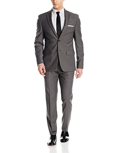 - DKNY Men's Two Button Slim Fit Stretch Suit, Deep Gray, 42 Regular