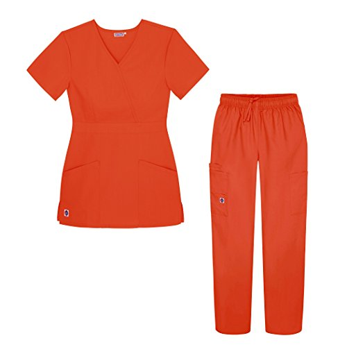 Sivvan Women's Scrub Set - Multi Pocket Cargo Pants & Stylish Mock Wrap Top - S8401 - MND - 2X Mandarin Orange