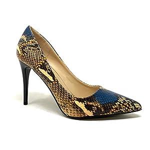 Angkorly – Chaussure Mode Escarpin Sexy Glamour Stiletto Femme Effet Peau de Serpent Python imprimé Animal Talon Haut…