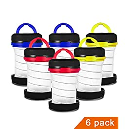 MISPO 6 Pack Portable Camping Lantern with LED Flashlights 2 in 1, 3-Lighting-Modes Survival Tool for Hiking, Camping…