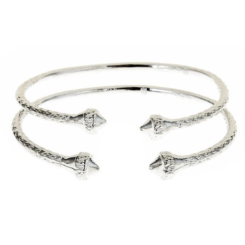 - Elegant Ends .925 Sterling Silver West Indian BABY Bangles (Pair 17.4g) (MADE IN USA)