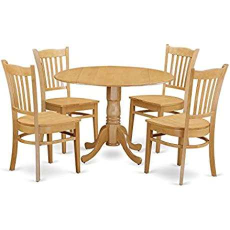 East West Furniture DLGR5 OAK W 5 Piece Kitchen Table And 4 Chairs Set
