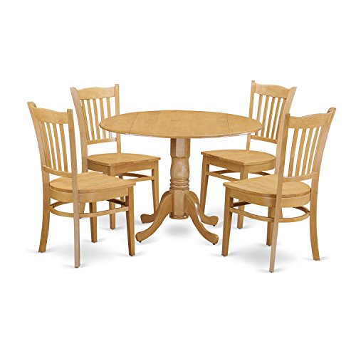 3 Piece Oak Pedestal - East West Furniture DLGR5-OAK-W 5 Piece Kitchen Table and 4 Chairs Set