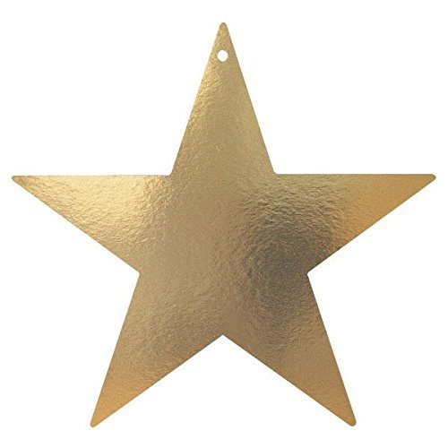 Foil Star Cut Out - 3 Pack of 12 Elegant Gold Foil 3