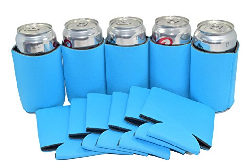 [25 Neon Blue Premium Blank Can Coolers Sleeves Can For Coolies Beer,Soft Drink,Economy Bulk Great For Events,Parties, BBQ,Costume DIY(25, Neon] (Diy Family Costumes)