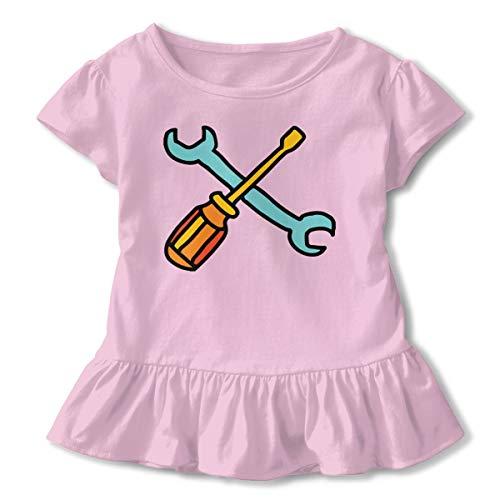 Handyman Tools Cliparts Kids Girls Short Sleeve Shirts Ruffles Shirt Shirt ()