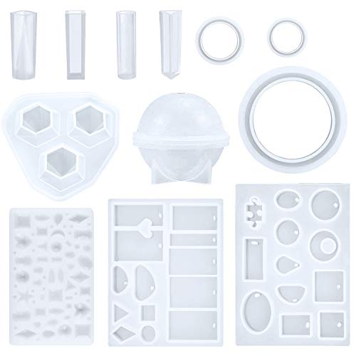ZHISOO 12Pack Jewelry Casting Molds Silicone Liquid Resin Mold for DIY Jewelry Making Bracelets Rings Pendant