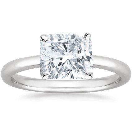 1 Carat Cushion Cut Solitaire Diamond Engagement Ring HI Color I2/I3 Clarity