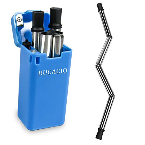 RUCACIO Collapsible Reusable Stainless Straw Medical-Grade Food-Grade Drinking Straws Portable with Hard Case Cleaning Brush by RUCACIO