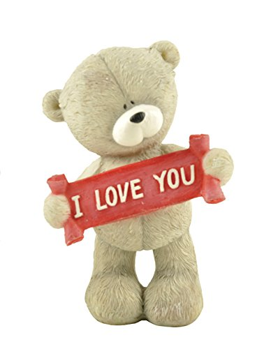 "ENNAS Lovely Resin Bear Figurines I Love You Birthday Gifts Decoration 3.86"" H (Gray and Red)"