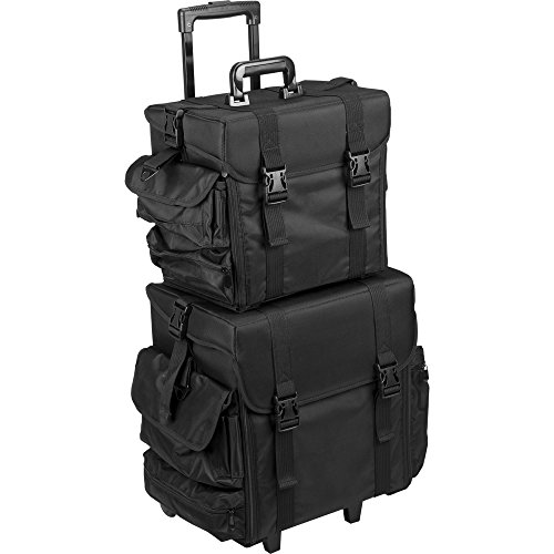 Hiker T5173 2-in-1 Soft Sided Professional Rolling Trolley Makeup Artist Cosmetic Case, Black Nylon by Hiker