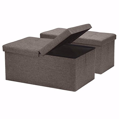 Otto & Ben [2pc Set] Folding Toy Box Chest with SMART LIFT Top, Linen Fabric Ottomans Bench Foot Rest for Bedroom, Brown
