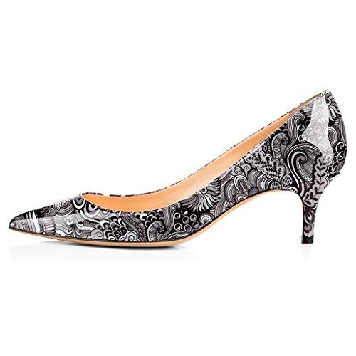 5 Shoes cm Chaussures Classique Pointu Bureau Escarpins 6 Soiree Bout 5 Fermé Fleur Kitten ELASHE Heel Gris Femme wIZq4xCC6