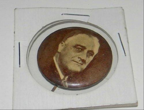 FRANKLIN D ROOSEVELT SEPHIA VINTAGE ORIGINAL POLITICAL CAMPAIGN COLLECTIBLE SOVENIER PIN PINBACK BUTTON SIZE 1.25