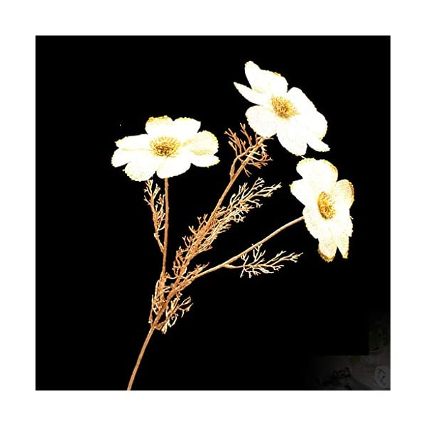 GuanJer Artificial Silver Gold Cosmos Simulation Bouquet Daisy Floral Fake Flower Decoration Ornaments for Home Wedding Decoration Garden Party Floral Decor (Color : Gold)