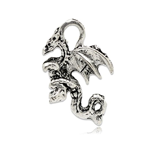 Housweety 50 Silver Tone Winged Dragon Charm Pendants 21x14mm ()