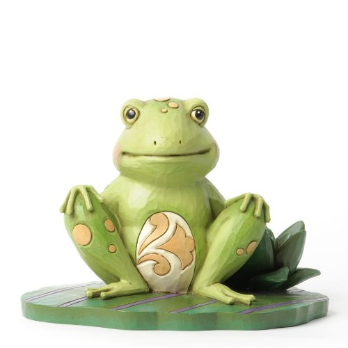 Jim Shore Frog - Jim Shore for Enesco Heartwood Creek Frog on Lily Pad Figurine, 3.75-Inch