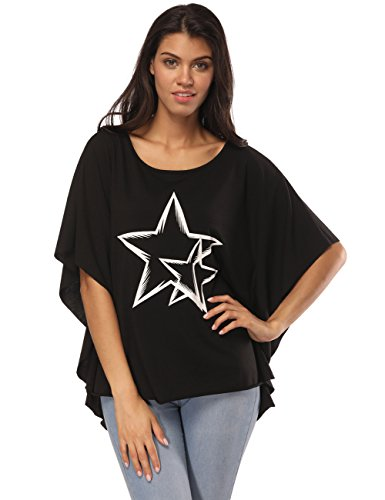 Neck Star Print - Fancyqube Women's Casual Round Neck Star Print Batwing Sleeve Loose Top T-Shirt Black L