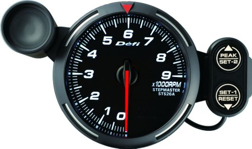 Defi DF12003 Racer Tachometer, 9000 RPM, White, 80mm