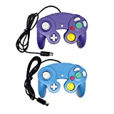 Bowink Ngc Classic Wired Shock Joypad Game Stick Pad Controller for Wii Gamecube NGC Gc Black (Blue and Purple)