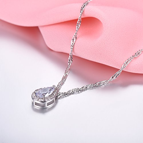 Pearl-shaped Briolette Cubic Zirconia Teardrop Pendant Necklace with Water Wave Chain, Platinum Plated Crystal Bridal/Wedding Necklace by Suplight (Image #2)