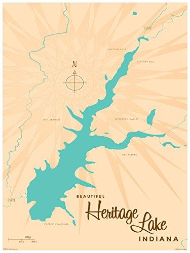 Heritage Lake Indiana Map Vintage-Style Art Print by Lakebound (18