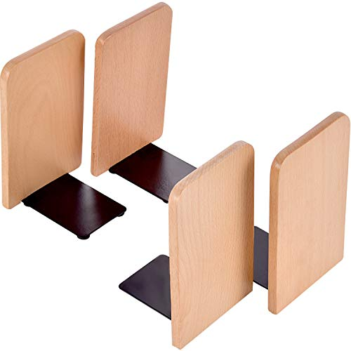 TecUnite 4 Pieces Wood Bookends Beech Wood Art Bookends Office Hand Crafted Heavy Wooden Bookend for Book Stand