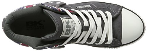 Herren ROCO British Grey Grau Knights Union Dk Hohe Twill Sneaker Jack 6FFPaxw