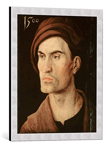 kunst für alle Framed Art Print: Albrecht Dürer Bildnis eines Jungen Mannes - Decorative Fine Art Poster, Picture with Frame, 19.7x23.6 inch / 50x60 cm, Silver Brushed