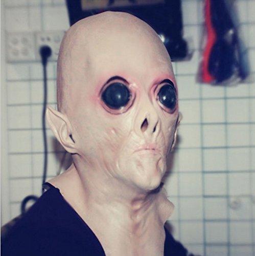 [Realistic UFO Alien Head Mask Latex Creepy Costume Party Cosplay] (Latex Alien Mask)